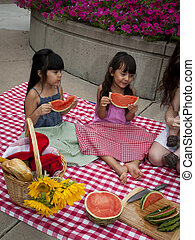 Picnic - Young family having picnic at the park