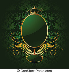 Royal green background with golden frame. Vector