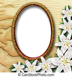 frame for a picture with flowers lilies on a background of...
