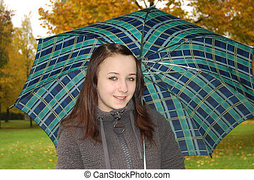Young woman - Portrait of young woman with umbrella