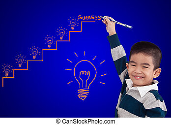 boy drawing step up of idea for success