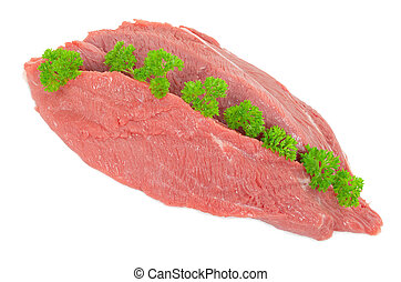 Piece of raw beef with parsley