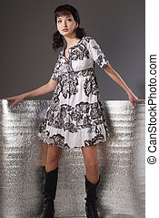 A girl wearing a dress