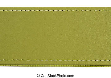 thread seam on green leather - Close-up of thread seam on...