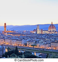 Florence Panorama by night  taken in summer in Italy