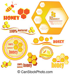 Set of honeycombs and bee badges and labels. Vector...