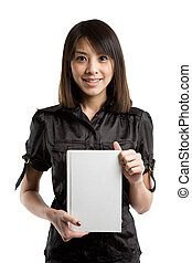 Asian student - An asian college student carrying a book