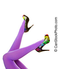 Purple Tights and High Heels - Bright purple nylon stockings...