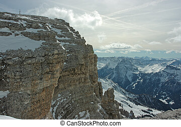 Dolomites range. View from 3000m above the sea level