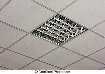 office ceiling lamp close-up view - Fluorescent office...