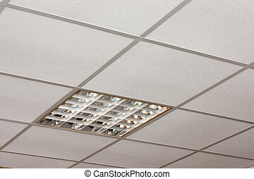 Office ceiling lamp close-up diagonal view - Ceiling lamp...