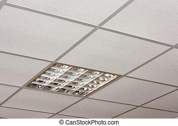 oficina, techo, lámpara, primer plano, diagonal,...