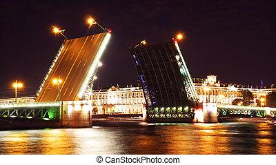 noche, vista, palacio, Puente, C/, Petersburg, Rusia
