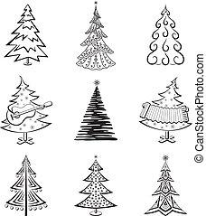 Christmas trees, set