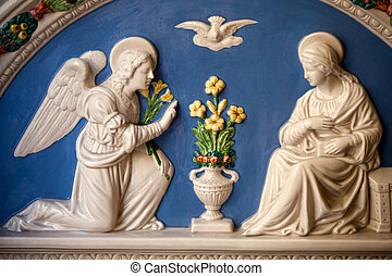 Annunciation - St. Gabriel announces the Virgin Mary the God...