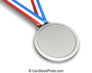 Silver medal - Silver champion medal isolated on a white...