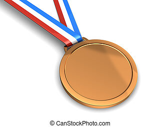 Golden medal - Golden champion medal isolated on a white...