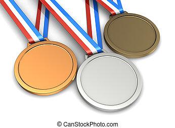 Three medals - Golden, silver, bronze champion medals...