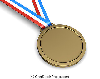 Bronze medal - Bronze champion medal isolated on a white...