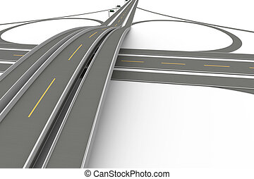 Highway Interchange - A Highway interchange 3D rendered...