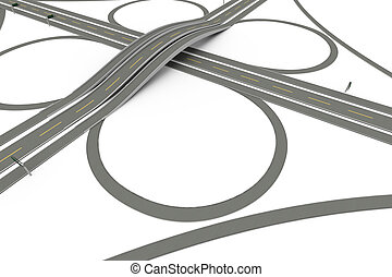 Highway Interchange - A Highway interchange. 3D rendered...