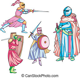 Medieval knights Set of color vector illustrations