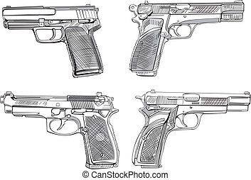 Pistol sketches. Set of black and white vector...