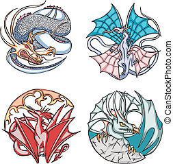 Round dragon designs Set of color vector illustrations