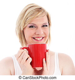 Happy woman with large red mug of coffee - Happy woman...