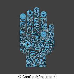 Hand the tool - Hand from tool subjects. A vector...