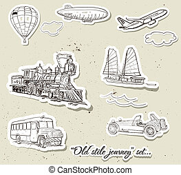 Vector set of vintage transport - Set of vintage transport...
