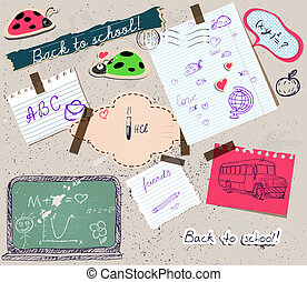 scrapbooking set with school elements. vector illustration...