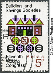 AUSTRALIA - 1968: shows Symbolic House and Money - AUSTRALIA...