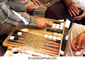 Israel Travel Photos - Jerusalem - People plays backgammon...