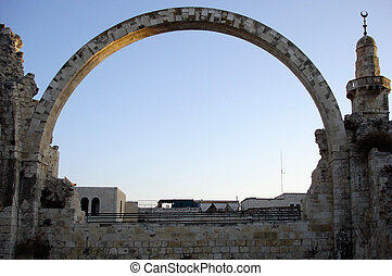 Israel Travel Photos - Jerusalem - Reconstructed arch of...