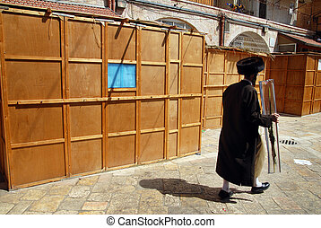 Israel Travel Photos - Jerusalem - Ultra orthodox Jewish man...