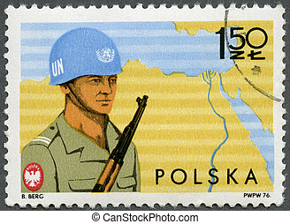 POLAND - CIRCA 1976: A stamp printed in Poland shows Soldier...