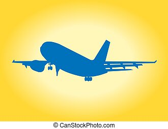 Airplane silhouette whit yellow background