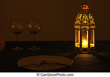 Lantern dinner - Setup for a evening with lantern light and...