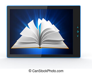 E-book reader Books and tablet pc 3d - E-book reader Books...