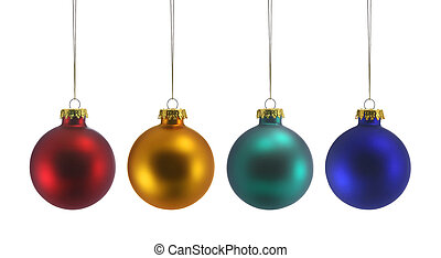 Four Christmas Balls - Red, Gold, Green and Blue Christmas...
