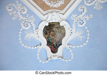 Mural - Ancient frescoes on the ceiling in the Suprasl...