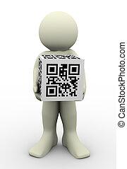 3d man and qr code (matrix barcode) - 3d render of man...
