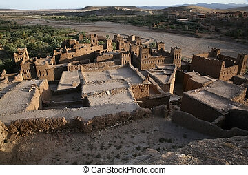 kasbah from the mountain - kasbah ait benhaddou from the...