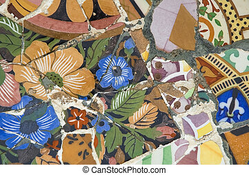 Detail of the ceramics from the Guadi bench in park Guell...