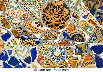 detalle, cerámica, Guadi, banco, parque, Guell,...