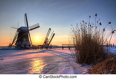 Winter sunset mill HDR
