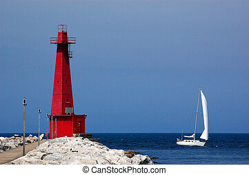 Lighthouse and sailboat, Muskegon, MI - Muskegon lighthouse...