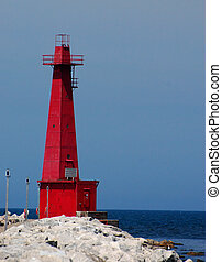 Lighthouse , Muskegon, Michigan - Red lighthouse on lake...
