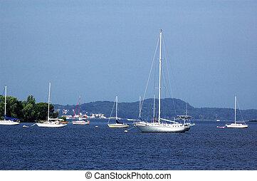 Many moored boats near shore near Muskegon, Michigan